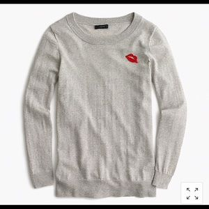 J Crew Tippi Sweater w/ embroidered lips